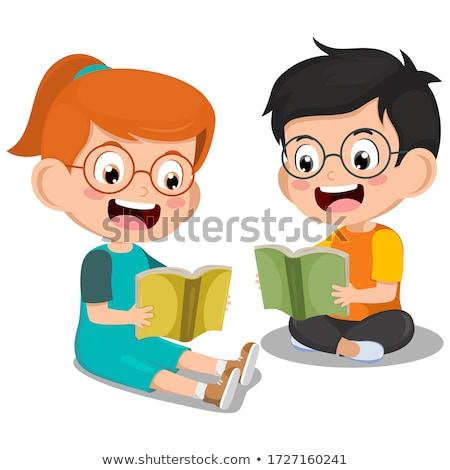 девушки мальчика чтение вместе полу довольно Сток-фото © lichtmeister