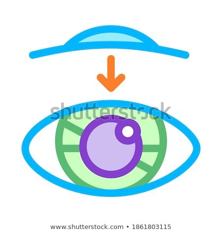 Olho visão lente de contato vetor ícone fino Foto stock © pikepicture