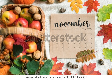Calendar list of November with ripe apples, walnuts, acorns and colorful leaves Stock photo © pressmaster