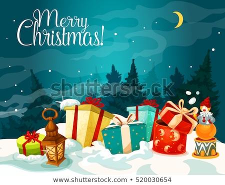 Vrolijk feestelijk pijnboom cartoon christmas Stockfoto © cienpies