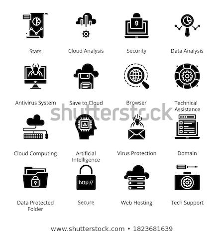 Datos ciencia sólido iconos de la web vector establecer Foto stock © Anna_leni