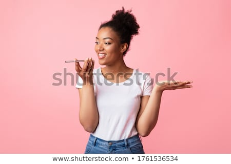 Mulher voz assistente celular sorrir Foto stock © AndreyPopov
