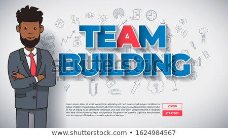 Team Building Concept With Funny Afro American Cartoon Guy Foto stock © Tashatuvango