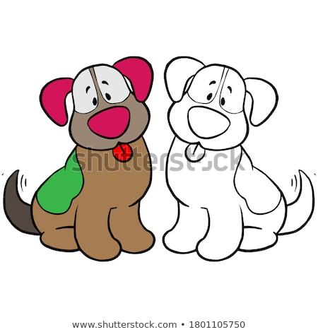 Gelukkig puppy karakter kleurboek pagina zwart wit Stockfoto © izakowski