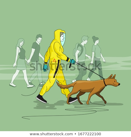 A Man Walking His Dog In A Hazmat Suit Stock photo © solarseven