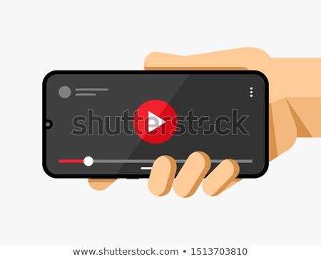 Smartphone mockup in human hand with video player application on the screen. Vector flat colorful te Stock photo © karetniy