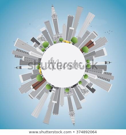 Miami sziluett szürke épületek kék ég copy space Stock fotó © ShustrikS