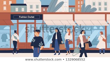 Pessoas fora ilustração edifício homem Foto stock © artisticco