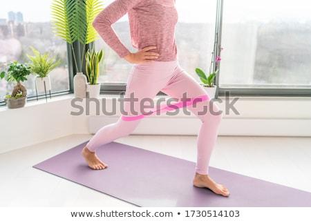 Resistência banda fitness casa exercício mulher Foto stock © Maridav