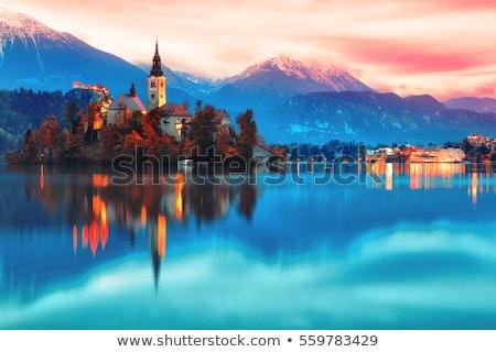 Göl Slovenya gece görmek kilise Stok fotoğraf © fazon1