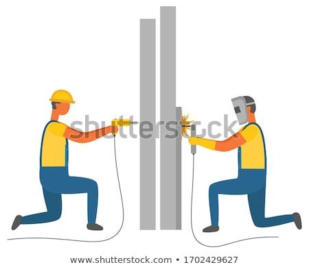 el · ulağı · matkap · güçlü · itme · kablosuz · adam - stok fotoğraf © elenaphoto