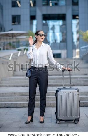 nő · bőrönd · integet · kéz · fényes · kép - stock fotó © zastavkin