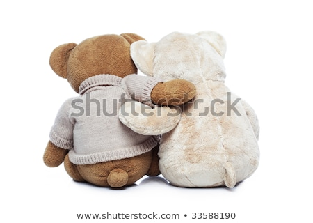 two teddy bears hugging each other over white background stock photo © ivelin