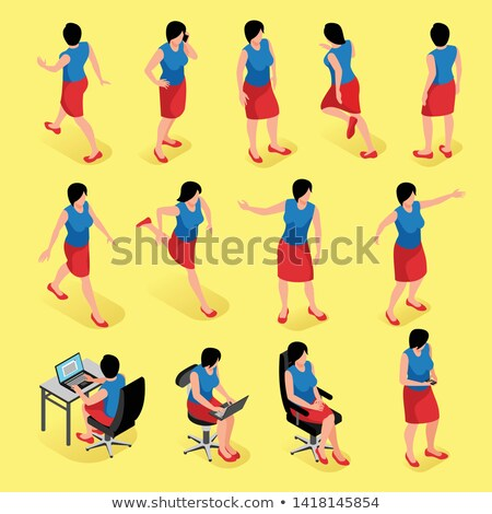 Stock photo: 3d human sitting on the symbol of female