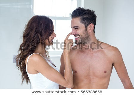пару ванную женщину черный зубов занавес Сток-фото © photography33