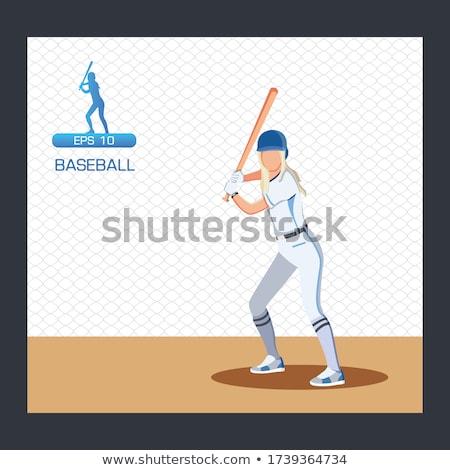 Foto stock: Mulher · jogador · de · beisebol · bela · mulher · beisebol · pronto · bola