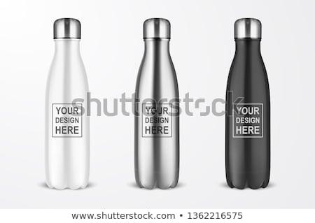 Foto stock: Garrafa · de · água · água · alumínio · prata · garrafa · madeira