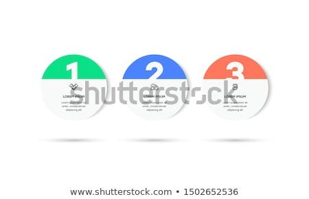 Stok fotoğraf: Bir · iki · üç · vektör · kâğıt · adımlar