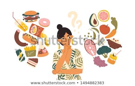 Düşünmek diyet yeme görüntü kadın düşünme Stok fotoğraf © pongam
