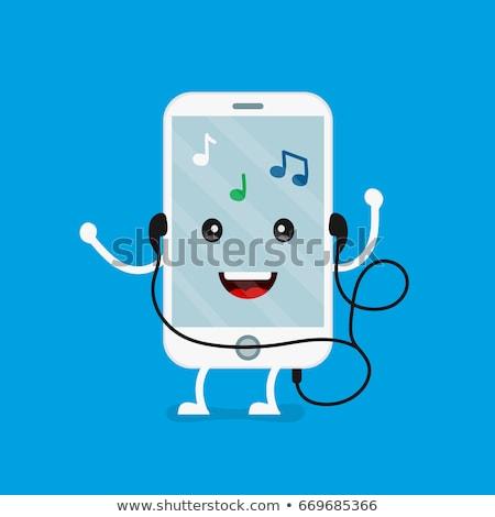 Gelukkig mobieltje hemel muziek technologie telefoon Stockfoto © fantazista