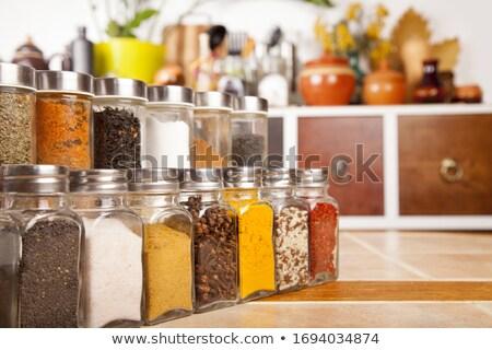 Baharat çekmeceler renkli ahşap depolama dekorasyon Stok fotoğraf © Artlover