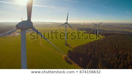Szél elektromosság áll kék ég zöld mező Stock fotó © Forgiss