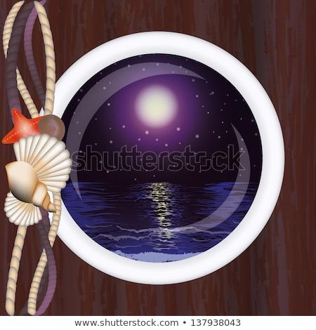 Beautiful night ocean in porthole, vector illustration Stock photo © carodi