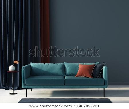 Luz solar quarto laranja sofá windows escritório Foto stock © limbi007