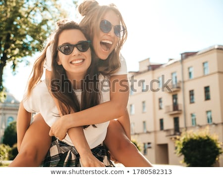 casual and sexy blond woman on white stock photo © dash