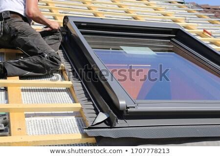 noir · carrelage · toit · modernes · maison · bâtiment - photo stock © taviphoto
