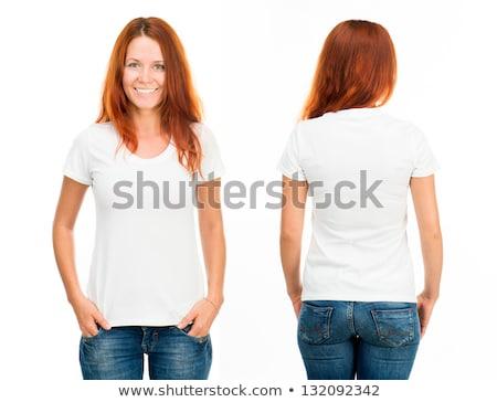 blond · vrouw · witte · shirt · jonge · mooie - stockfoto © sumners