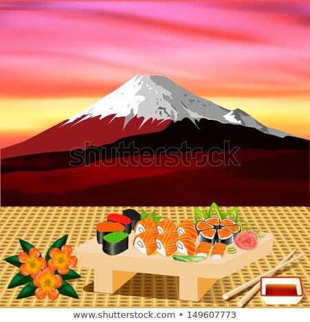 Sushi zieleń ilustracja ryb liści Zdjęcia stock © yurkina
