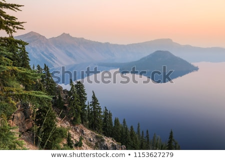 crater lake reflection blue lake morning oregon stock photo © billperry