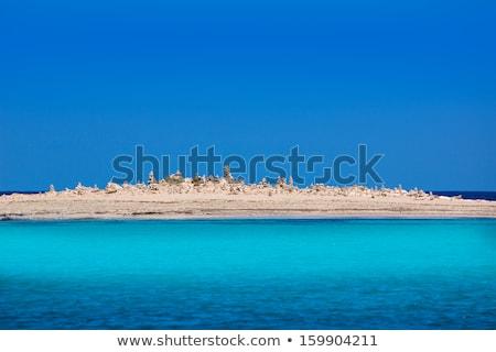 Formentera island Illetes Illetas with stone sculptures Stock photo © lunamarina