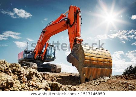 Kotrógép citromsárga építkezés város épületek ipari Stock fotó © Kurhan