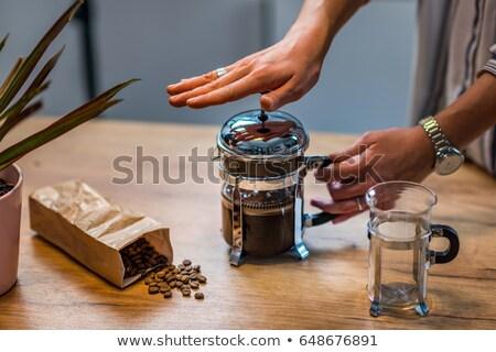 ochtend · persoon · drinken · koffie · ontbijt · tabel - stockfoto © maridav
