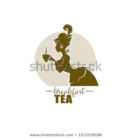 Kávé címke hölgy sziluett illusztráció lány Stock fotó © coolgraphic