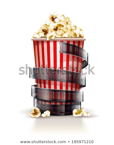 cinema concept with paper bucket with popcorn and film tape Stock photo © LoopAll