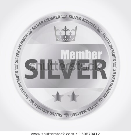 Silver member badge with royal crown and two stars Stock photo © liliwhite