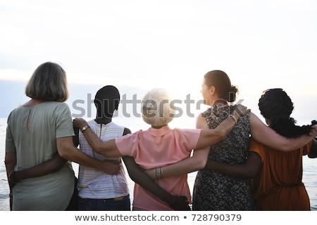 Starszy kobieta stałego sukces buty biały Zdjęcia stock © bmonteny