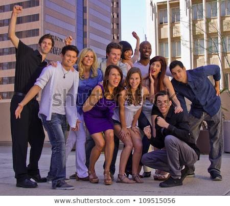 Nagyobb csoport társasház ház ablak nyár építészet Stock fotó © gemenacom