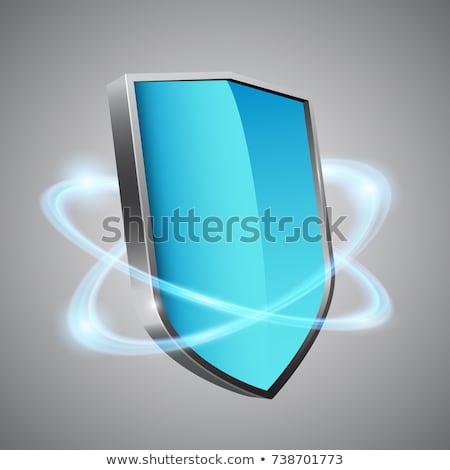 Foto stock: Azul · prata · proteção · escudo · vírus