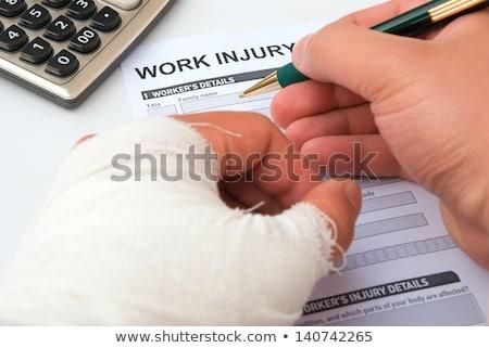 Kéz toll ír munka baleset orvos Stock fotó © Zerbor