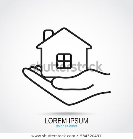huis · vrouwelijke · hand · witte · model · geïsoleerd - stockfoto © cherezoff