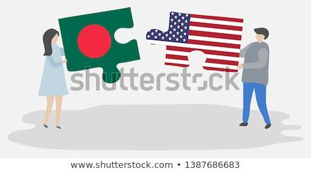 EUA Bangladesh bandeiras quebra-cabeça vetor imagem Foto stock © Istanbul2009