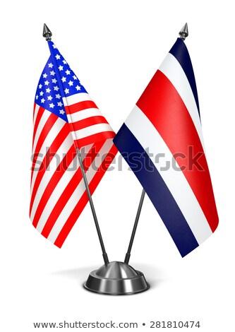 EUA Costa Rica miniatura banderas aislado blanco Foto stock © tashatuvango