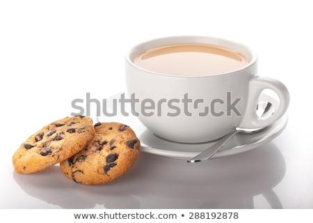 kávészünet · sütik · recept · notebook · kávéscsésze · felső - stock fotó © dla4