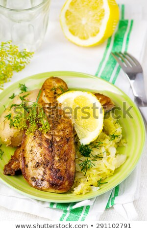 Fried Mackerel With Braised Cabbage Stok fotoğraf © zoryanchik