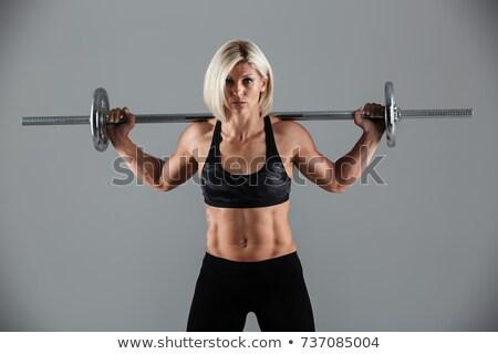 Фитнес-женщины серый вид сзади женщину девушки женщины Сток-фото © restyler