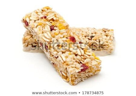 Stok fotoğraf: Iki · granola · çubuklar · yalıtılmış · beyaz · besleyici